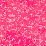 Peincess pattern. Seamless pattern with things related to princesses Stock Photo