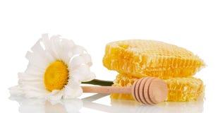 Peine de la miel, cucharada de madera y margarita aislados en blanco Fotografía de archivo libre de regalías