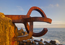 Peine del viento, Eduardo Chillida, in Donostia. Comb of the Wind (Peine del viento, Chillida) in Donostia, spain Royalty Free Stock Photos