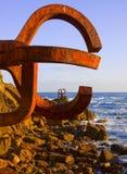 Peine del Viento sculpture in Donostia, Gipuzkoa Royalty Free Stock Images