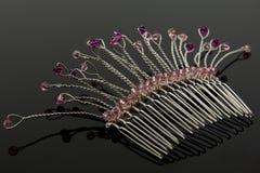 Peine nupcial rosado del pelo Fotos de archivo