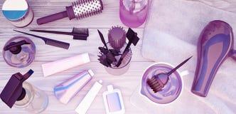 Peines, tinte de pelo y cosméticos profesionales para el pelo situado en a Imagen de archivo