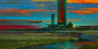 Peint égaliser le paysage fantastique pittoresque avec la réflexion illustration de vecteur