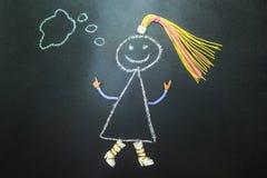 Peint avec le caractère de craie pense sur un tableau noir illustration libre de droits