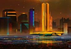 A peint un paysage urbain fantastique de nuit de l'avenir illustration stock