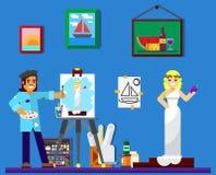 Peintre au travail, peignant modèle dans le studio Images libres de droits