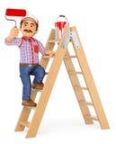 peintre 3D travaillant vers le haut d'une échelle avec une brosse de rouleau Photo stock