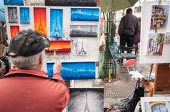 Peintre de rue de Paris Photographie stock