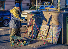 Peintre de rue sur la perspective de Nevsky Photo stock