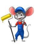 Peintre de souris dans l'uniforme bleu avec une brosse Illustration Stock