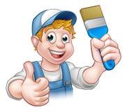 Peintre Decorator Holding Paintbrush de bricoleur Photos stock