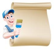 Peintre Decorator Scroll de bande dessinée Images stock