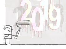 Peintre et nombre 2019 blanc frais illustration libre de droits