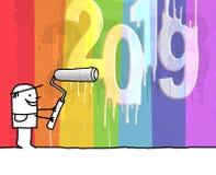 Peintre et nombre 2019 blanc frais illustration de vecteur