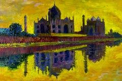 Peinture à l'huile abstraite Taj Mahal à Agra, Inde illustration libre de droits