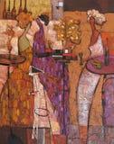 Peinture à l'huile, artiste Roman Nogin, l'entretien des femmes de ` de série ` photo stock