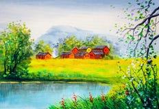 Peinture à l'huile - Autumn Landscape Images stock