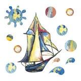 Peinture ? l'huile avec l'image de la mer, bateau, nuages, lune Pour la conception des milieux, cartes, copies, couvertures, paqu illustration libre de droits