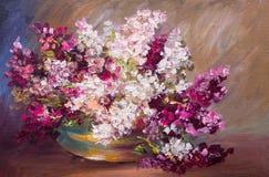 Peinture à l'huile - bouquet de lilas, toujours la vie colorée Photographie stock