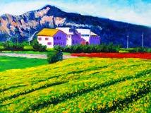 Peinture à l'huile - campagne illustration libre de droits