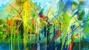 Peinture à l'huile colorée abstraite sur la texture de toile illustration de vecteur