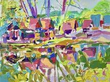 Peinture à l'huile d'air de Plein de paysage rural illustration stock