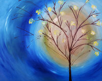 Peinture à l'huile d'arbre contre le ciel bleu photo libre de droits