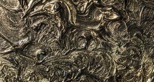 peinture à l'huile d'art Noircissez l'or illustration 3d Abstraction volumétrique Texture Fond illustration stock