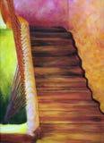 Peinture à l'huile, escaliers marocains photographie stock