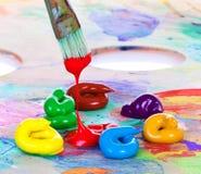 Peinture à l'huile et balai Images libres de droits
