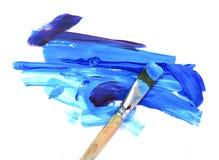 Peinture à l'huile et balai de couleur Photos libres de droits