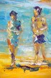 Peinture à l'huile initiale sur la toile pour le giclee Photo libre de droits