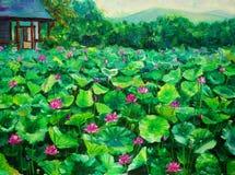 Peinture à l'huile - lotus Image stock