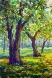 Peinture à l'huile originale sur l'illustration moderne d'impressionisme de parc de toile de paysage ensoleillé en bois de route illustration de vecteur