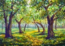 Peinture à l'huile originale sur l'illustration moderne d'impressionisme de parc de toile de paysage ensoleillé en bois de route illustration libre de droits