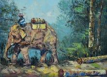 Peinture à l'huile originale sur la toile - éléphant pour traîner des rondins illustration stock