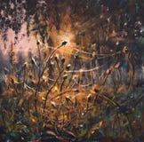 Peinture à l'huile originale sur la toile - toiles d'araignée colorées dans la peinture d'herbe - art moderne d'impressionisme illustration stock