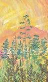 Peinture à l'huile sur la toile Aube dans les montagnes illustration stock