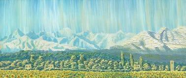 Peinture à l'huile sur la toile Horizontal de montagne L'arête à l'aube Photo stock