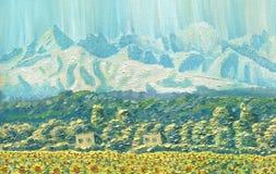 Peinture à l'huile sur la toile Horizontal de montagne L'arête à l'aube Image stock