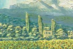 Peinture à l'huile sur la toile Horizontal de montagne Petite maison Photographie stock