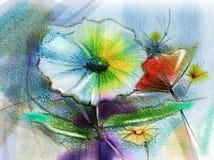 Peinture abstraite d'aquarelle de fleur illustration de vecteur