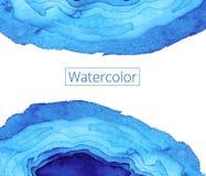Peinture abstraite d'aquarelle Vagues en verre souillé d'Art Nouveau Profil onduleux bleu lumineux Boutique de textures de milieu Photographie stock