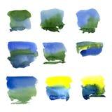Peinture abstraite de main d'art d'aquarelle d'isolement sur le fond blanc Images stock