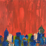 Peinture abstraite de paysage urbain de pétrole Photos libres de droits