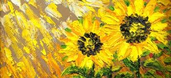 Peinture abstraite Tournesols lumineux sur le champ illustration de vecteur