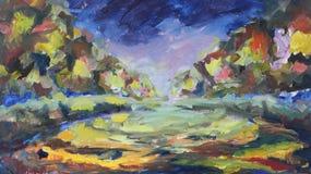 Peinture abstraite Ville de nuit illustration libre de droits