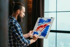Peinture acrylique abstraite d'?cole d'art moderne images libres de droits