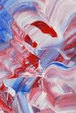 Peinture acrylique bleue et blanche rouge Image stock