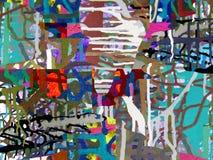 Peinture acrylique de couleur d'art abstrait sur la toile du fond coloré photographie stock libre de droits